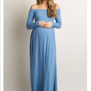 Blue Solid Off Shoulder Maternity Maxi Dress